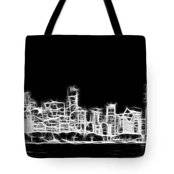 Chicago Skyline Fractal Black And White Tote Bag