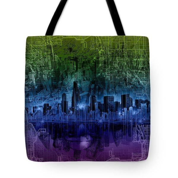 Chicago Skyline Gradient Version Tote Bag