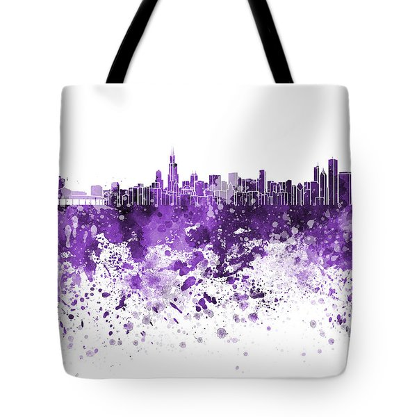 Chicago Skyline In Purple Watercolor On White Background Tote Bag