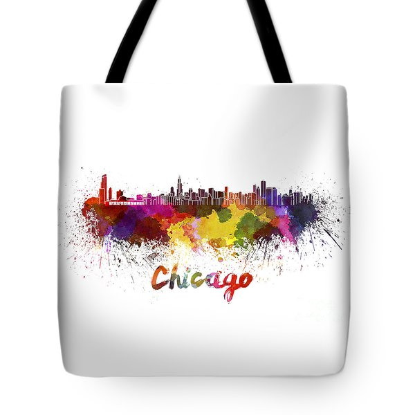 Chicago Skyline In Watercolor Tote Bag
