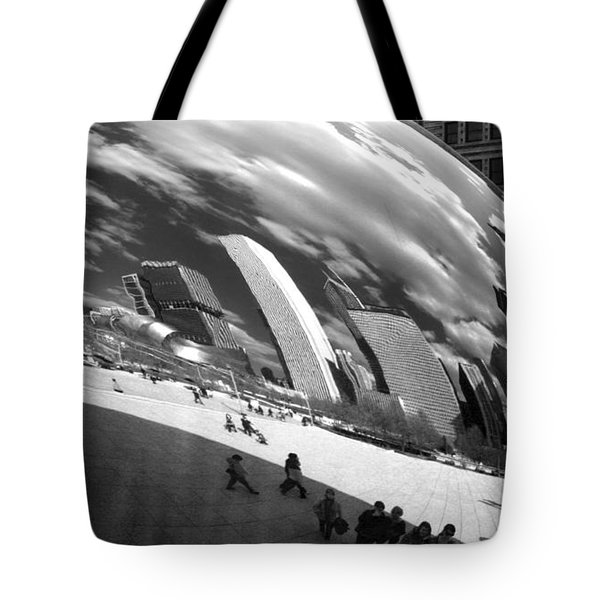 Chicago Skyline Reflected Bean Tote Bag