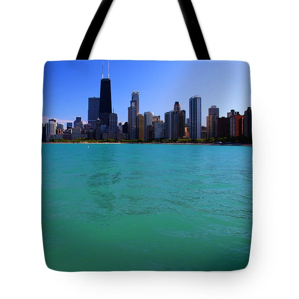 Chicago Skyline Teal Water Tote Bag