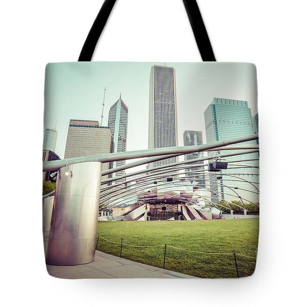 Chicago Skyline With Pritzker Pavilion Vintage Picture Tote Bag