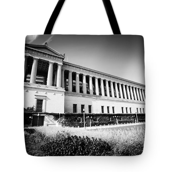 Chicago Solider Field Black And White Picture Tote Bag by Paul Velgos