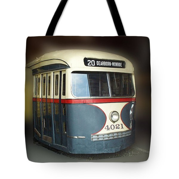 Chicago Street Car 20 Tote Bag by Thomas Woolworth