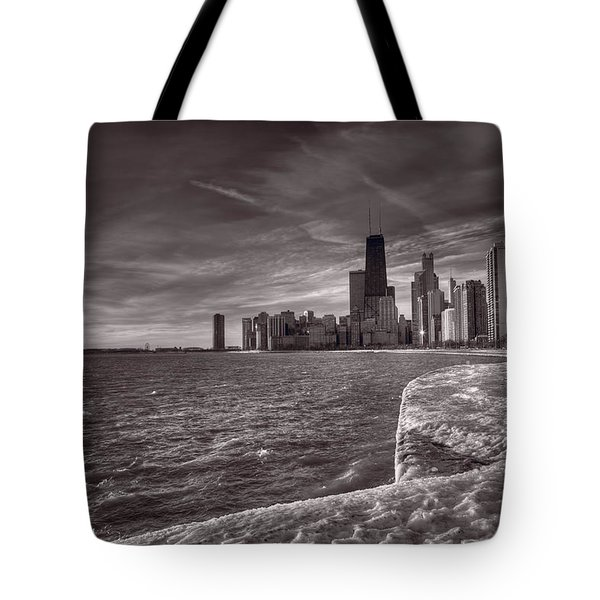Chicago Sunrise Bw Tote Bag by Steve Gadomski