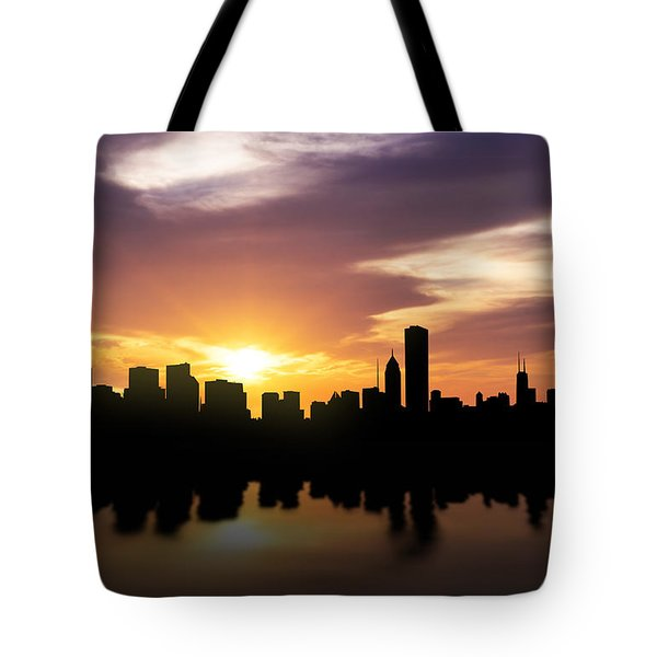 Chicago Sunset Skyline  Tote Bag by Aged Pixel