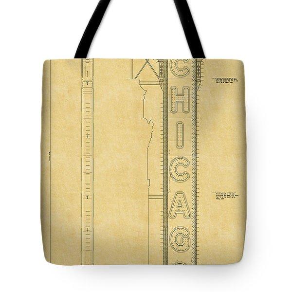 Chicago Theatre Blueprint Tote Bag