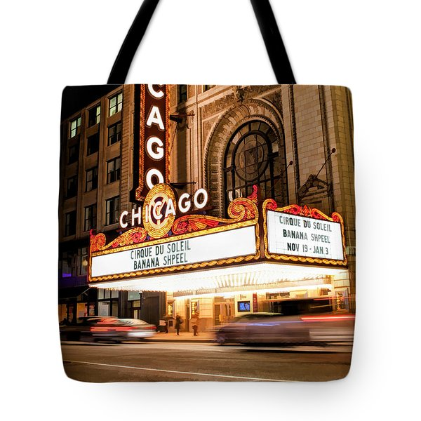 Chicago Theatre Marquee Sign At Night Tote Bag