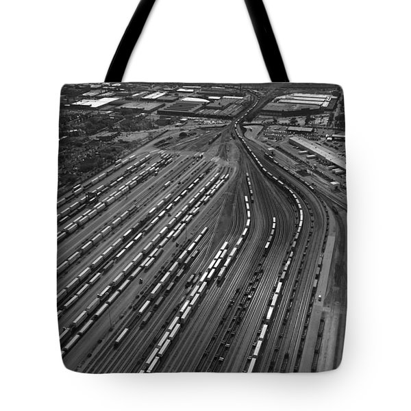 Chicago Transportation 02 Black And White Tote Bag by Thomas Woolworth