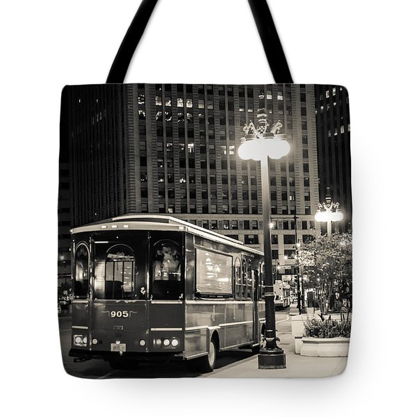 Chicago Trolly Stop Tote Bag by Melinda Ledsome