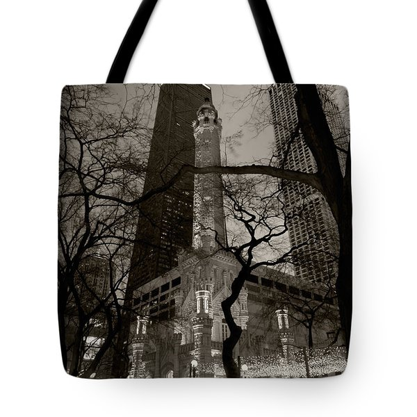 Chicago Water Tower B W Tote Bag by Steve Gadomski