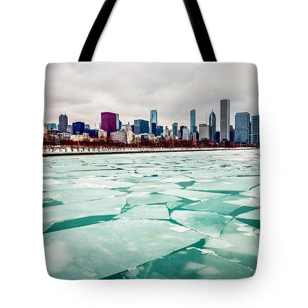 Chicago Winter Skyline Tote Bag by Paul Velgos