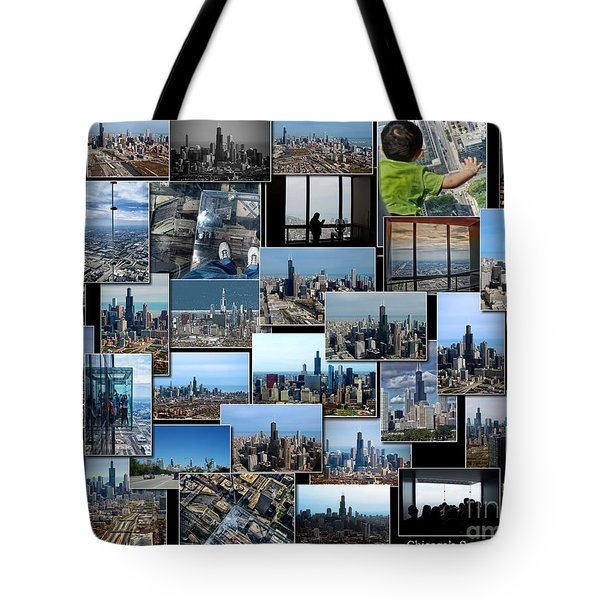 Chicago's Sears Willis Tower Collage Tote Bag by Thomas Woolworth