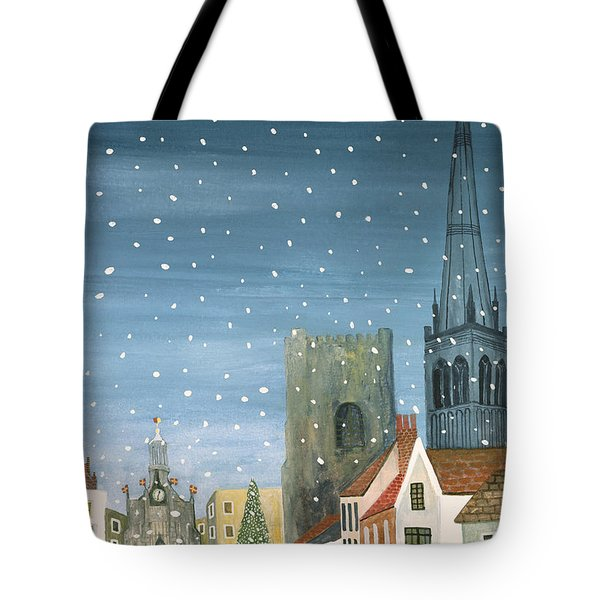 Chichester Cathedral A Snow Scene Tote Bag by Judy Joel
