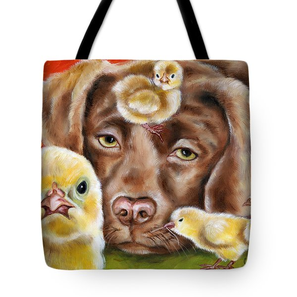 Tote Bag featuring the painting Chick Sitting Afternoon by Hiroko Sakai