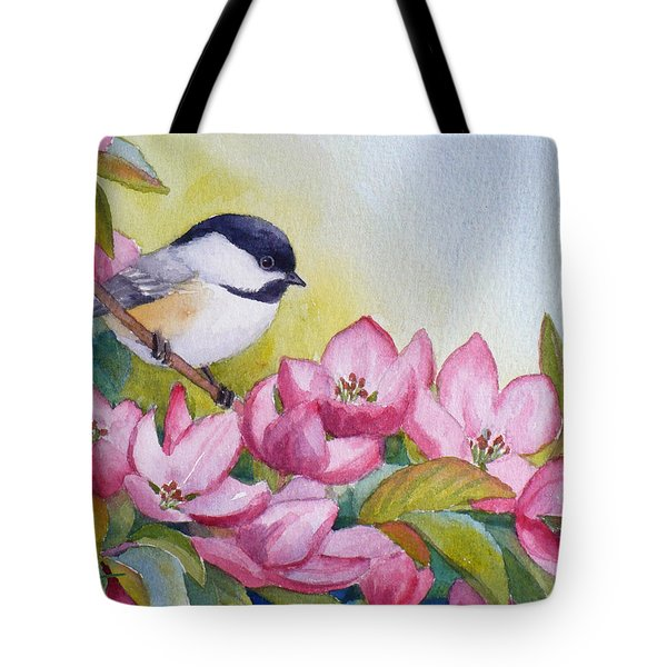 Chickadee And Crabapple Flowers Tote Bag