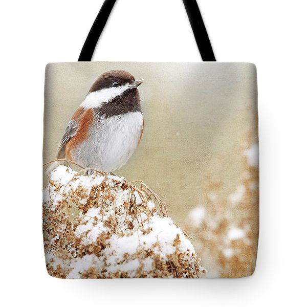 Chickadee And Falling Snow Tote Bag