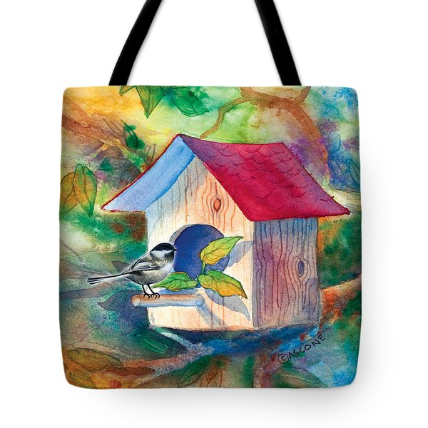 Chickadee Bungalow Tote Bag
