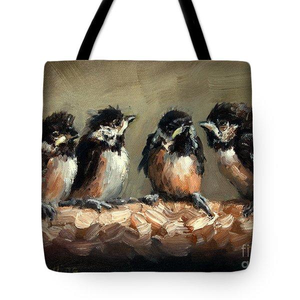 Chickadee Chicks Tote Bag by Lisa Phillips Owens