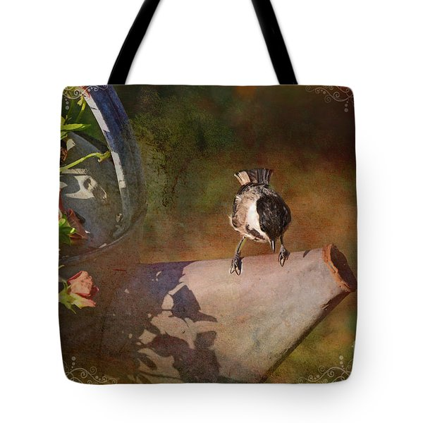 Chickadee Flower Pot Tote Bag by Debbie Portwood