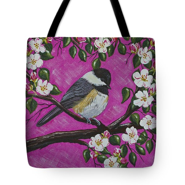 Tote Bag featuring the painting Chickadee In Apple Blossoms by Jennifer Lake