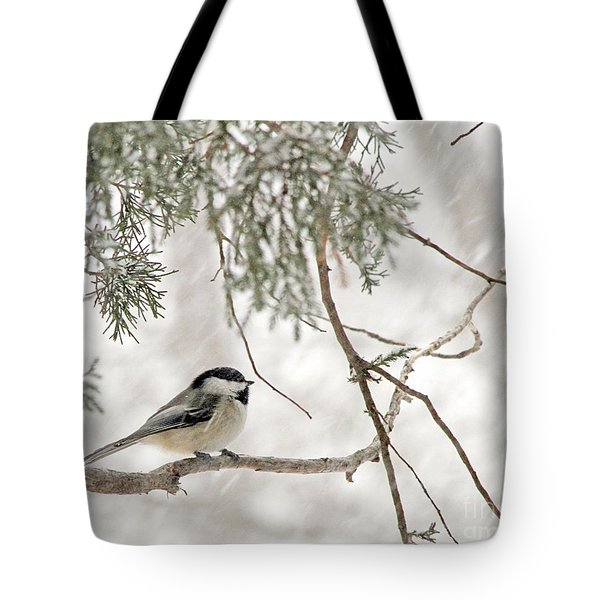 Chickadee In Snowstorm Tote Bag