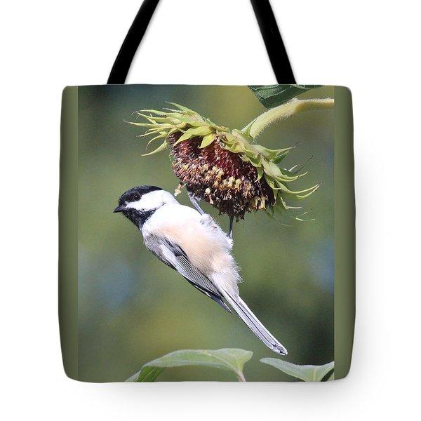 Chickadee On Sunflower Tote Bag