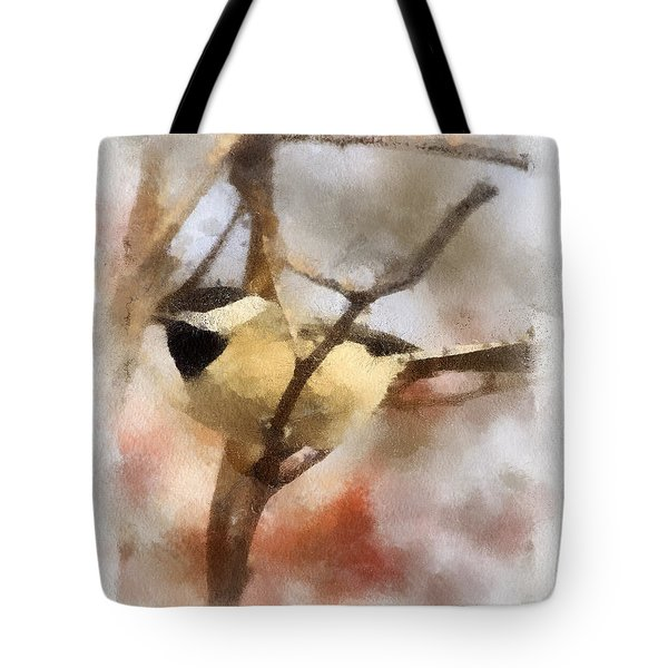 Tote Bag featuring the painting Chickadee Watercolor by Kerri Farley