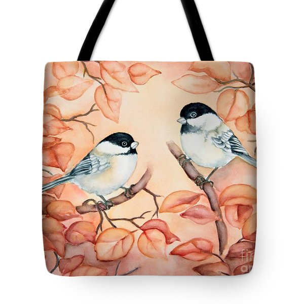 Chickadees Tote Bag by Inese Poga