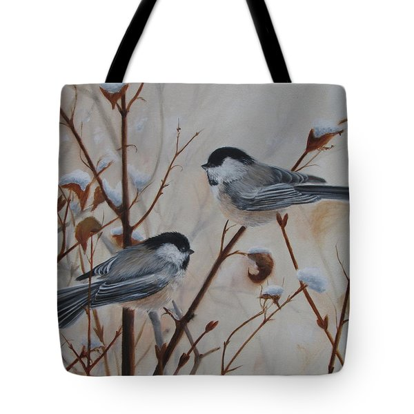 Tote Bag featuring the painting Chickadees by Tammy Taylor