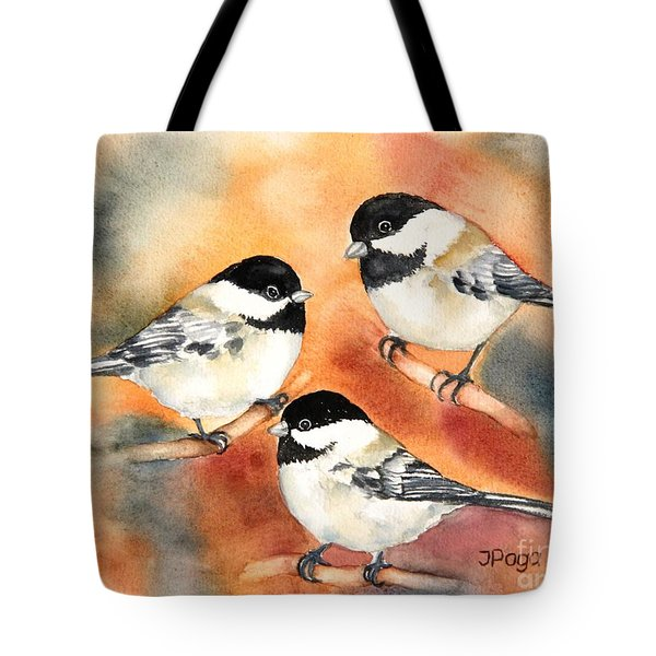 Chickadees Trio Tote Bag by Inese Poga