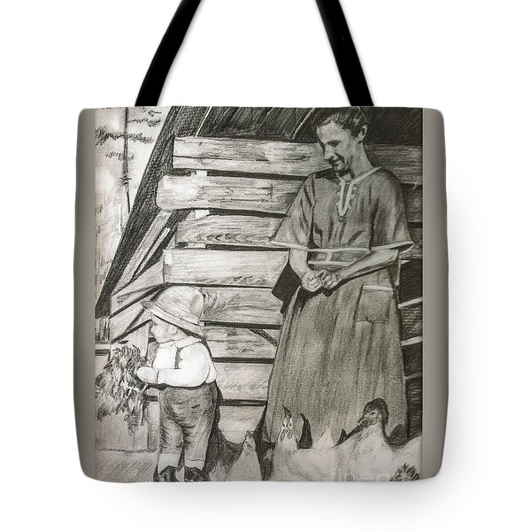 Chicken Coop - Woman And Son - Feeding Chickens Tote Bag