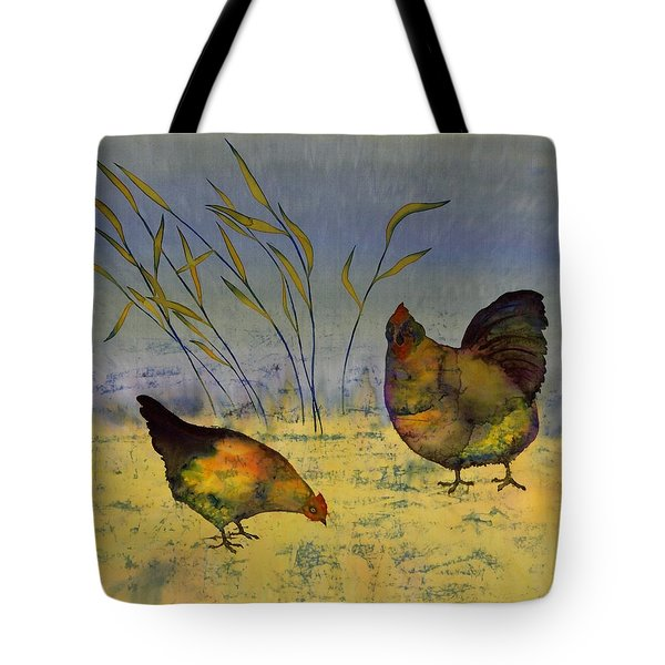 Chickens On Silk Tote Bag