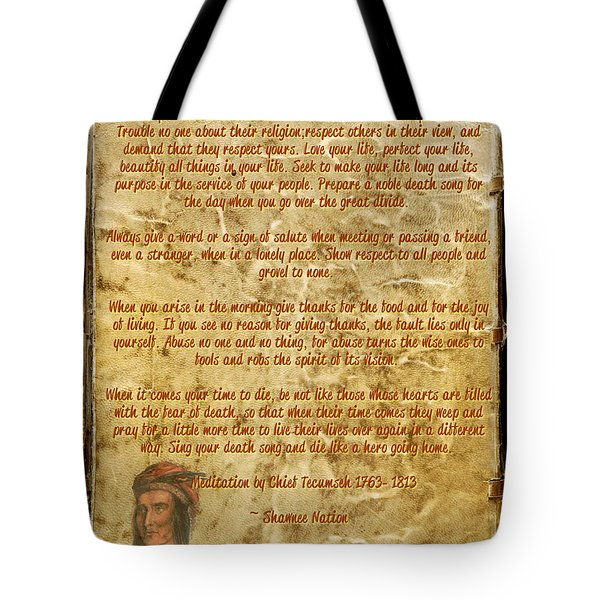 Tote Bag featuring the mixed media Chief Tecumseh Poem - Live Your Life by Celestial Images