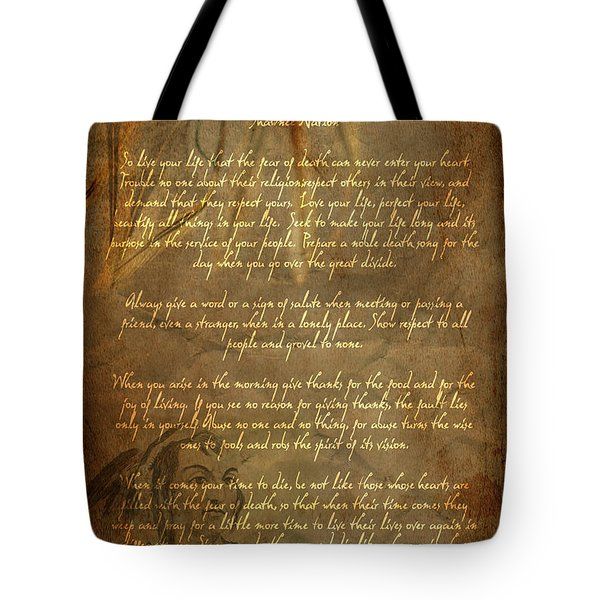 Chief Tecumseh Poem Tote Bag