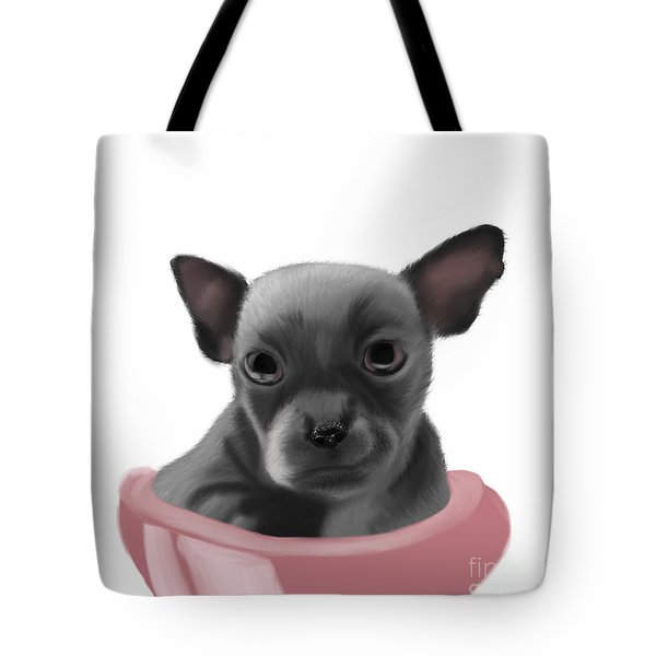 Chihauhau In A Bowl Tote Bag