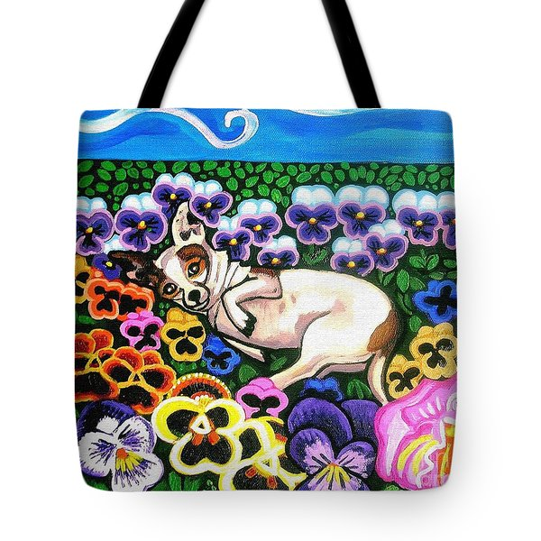 Chihuahua In Flowers Tote Bag
