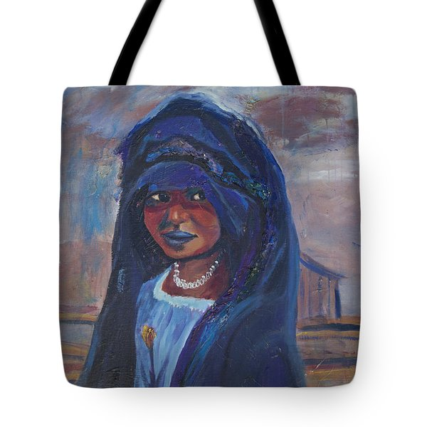 Tote Bag featuring the painting Child Bride Of The Sahara by Avonelle Kelsey