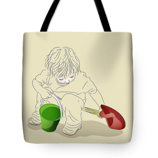 Tote Bag featuring the digital art Child With Sand Toys by MM Anderson