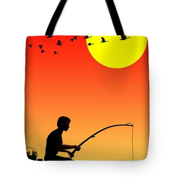 Childhood Dreams 3 Fishing Tote Bag by John Edwards