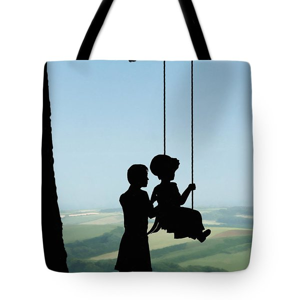 Childhood Dreams Push Me Tote Bag by John Edwards