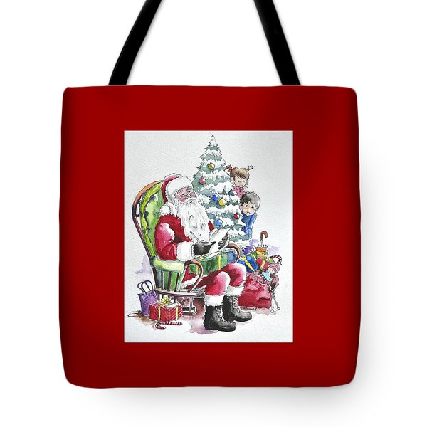 Childre Sneaking Around Santa Tote Bag