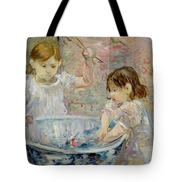 Children At The Basin Tote Bag by Berthe Morisot