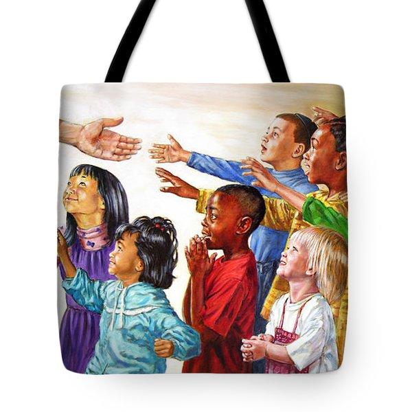 Children Coming To Jesus Tote Bag