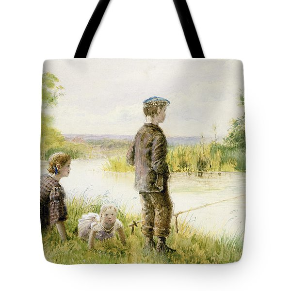 Children Fishing By A Stream Tote Bag by George Goodwin Kilburne