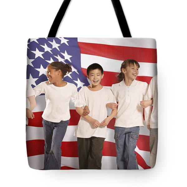 Children In Front Of American Flag Tote Bag by Don Hammond