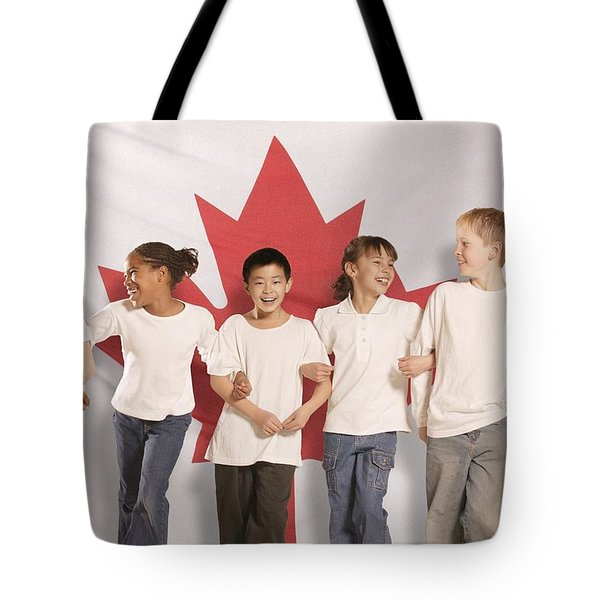 Children In Front Of Canadian Flag Tote Bag by Don Hammond