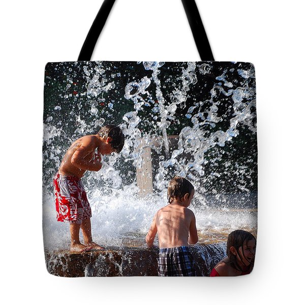 Children In The Fountain Tote Bag
