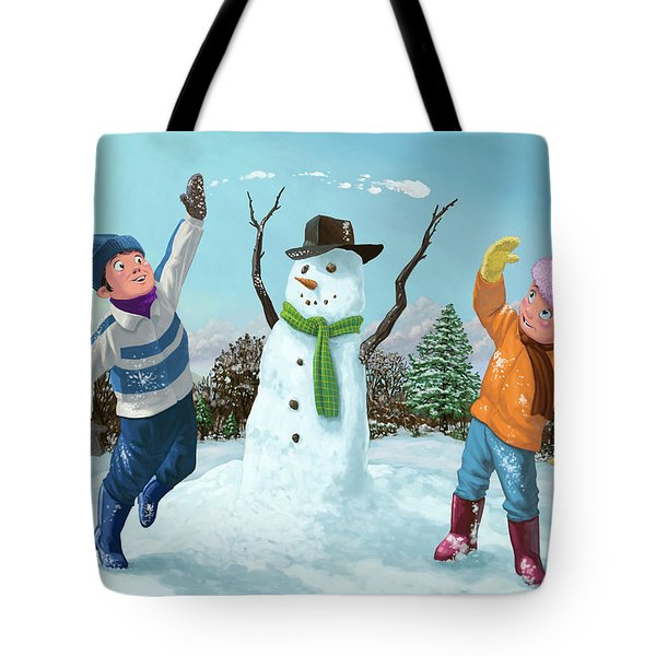 Children Playing In Snow Tote Bag